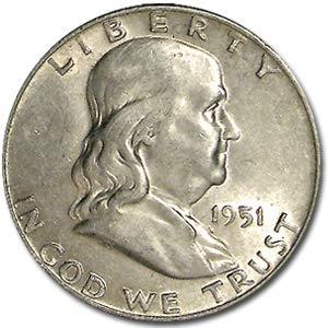 1951 D Franklin Half Dollar AU Half Dollar About Uncirculated