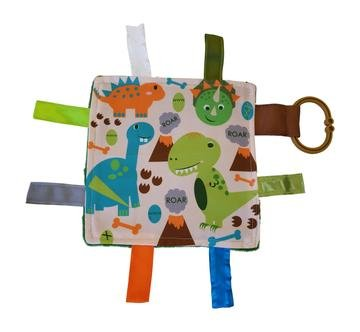 Baby Sensory Crinkle & Teething Square Lovey Toy with Closed Ribbon Tags for Increased Stimulation: 8