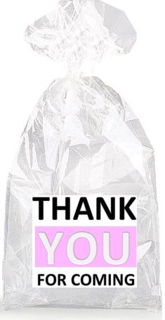 Black White and Pink Thank YOU For Coming Party Favor Bags w