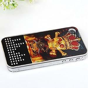 New Sense Crown and Skulls Pattern 3D Flash Light LED Color Changing Hard Case for iPhone 4/4S , Black