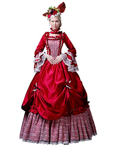 Zukzi Women's 1800s Retro Rococo Gothic Victorian Dress Costume, 14 Red, Size 18 -