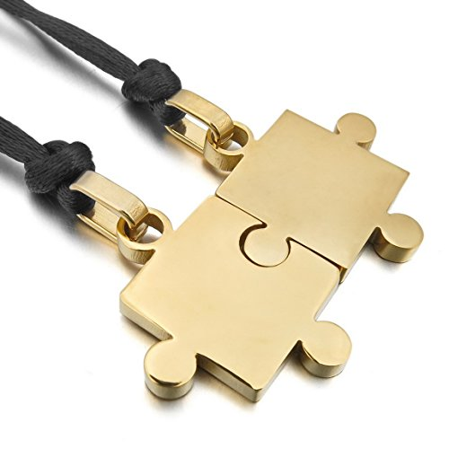 INBLUE Men,Women's 2 PCS Stainless Steel Pendant Necklace Gold Tone Jigsaw Puzzle Love Couple Adjustable 20~22 Inch Chain for $<!--$0.99-->