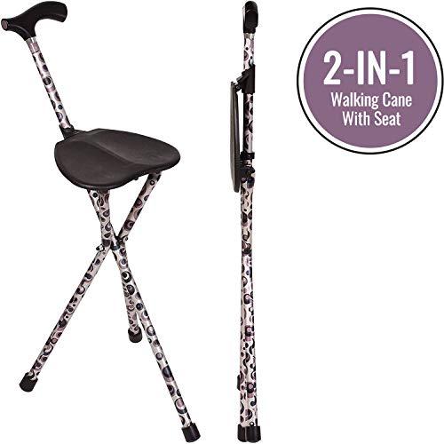 Switch Sticks Seat Stick, 2-in-1 Walking Cane Seat, Folding, Storm