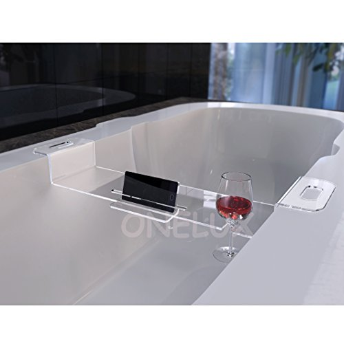 ONE LUX Acrylic bathtub mobilephone/ipad storage holder shelf rack,Lucite bathroom wine glass holder tray - (96W18D, CLEAR) by ONE LUX