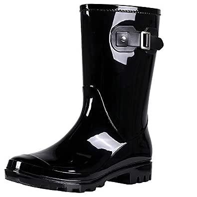 Evshine Women's Mid Calf Rain Boots Waterproof Garden Shoes Glossy Black 36