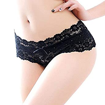 f2279330e1f Amorza Women's Poly Cotton Lace Floral Briefs Panties Seamless Breathable  G-String (Black,