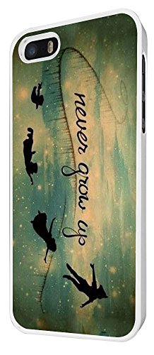 579 - Out Of This World Space Galaxy never grow up Cartoon Funky Design iphone 5 5S Coque Fashion Trend Case Coque Protection Cover plastique et métal - Blanc