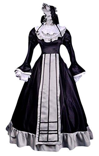 [Ace Halloween Adult Women's Sexy French Maid Steward Long Dress Costume Custom-made (US 8-10)] (Custom French Maid Costumes)