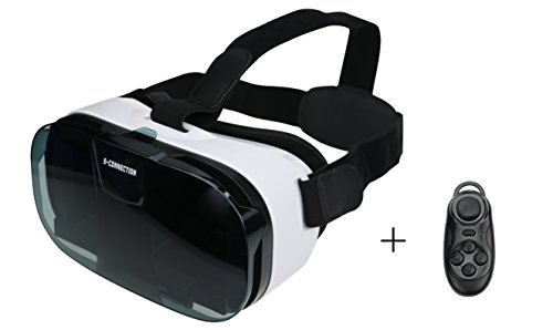 E-connection FiiT VR 2N Virtual Reality 3D VR Glasses Gear+Bluetooth Controller VR Oculus Rift Video Helmet for iPhone for Samsung for HTC Etc Smart Phone with Edge 4.7-6 inch