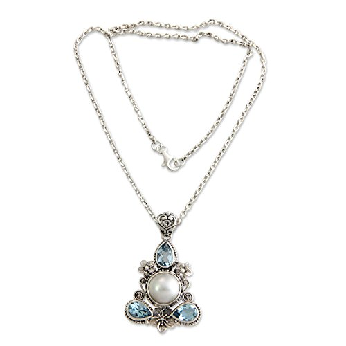 NOVICA Blue Topaz Cultured Mabe Pearl .925 Sterling Silver Necklace 'Frangipani Trio'