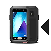 "Samsung Galaxy A520/A5 Metal Case,Shockproof Waterproof Dust/Dirt/Snow Proof Aluminum Metal Gorilla Glass Protection Case forSamsung Galaxy A520/A5 2017(5.2"") (Black)"