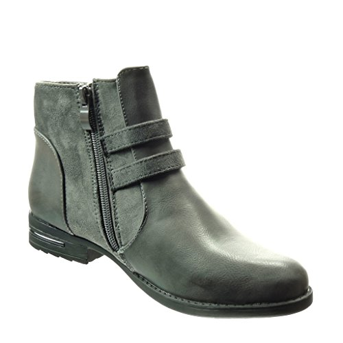 Heel Boots Metallic cm Material bi Ankle Shoes Fashion Grey Buckle Booty Block Angkorly 3 Women's Boots Chelsea Zqg0xPOPw