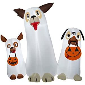 Halloween Airblown Inflatable 5ft. Ghost Dogs Trio Scene