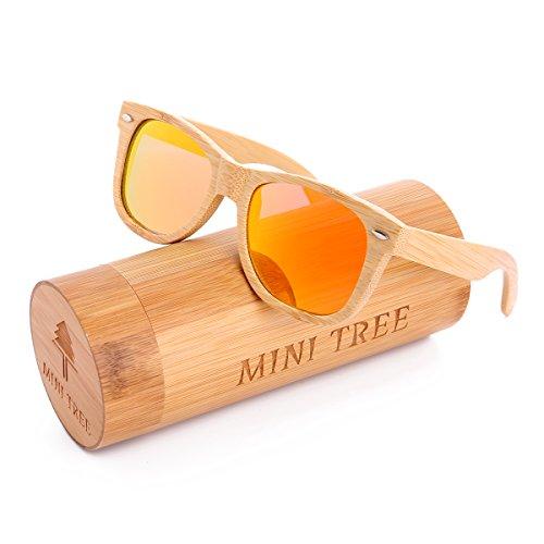 Mini Tree Polarized Handcraft Bamboo Sunglasses Wayfarer Vintage Shades For Men and Women (Bamboo, - Shade Glasses Tree