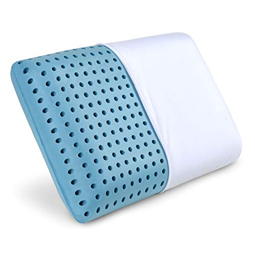 PharMeDoc Blue Cooling Memory Foam Pillow Ventilated Hole-Punch Memory Foam Bed Pillow Infused with Cooling Gel incl. Removable Pillow Case - Standard Size