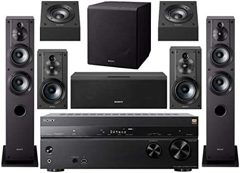Sony STR-DN1080 7.2-Channel House Theater AV Receiver Bundled with Energetic Subwoofer and Seven Sony Audio system (9 Gadgets)