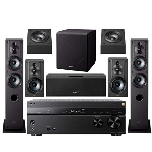 Sony STR-DN1080 7.2-Channel Home Theater AV Receiver Bundled with Active Subwoofer and Seven Sony Speakers (9 Items) (Home Theater System Dolby)