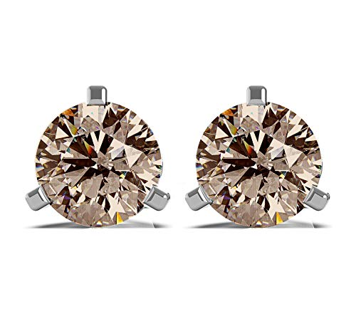 Frostrox 14K White Gold 0.60 Carat Round Brilliant Cut Brown Diamond (SI2-I1 Clarity) Classic Stud Earrings
