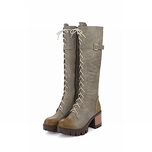 Charm Foot Womens Zipper Lace Up Chunky High Heel Knee High Boots Grey ZTMQJvc