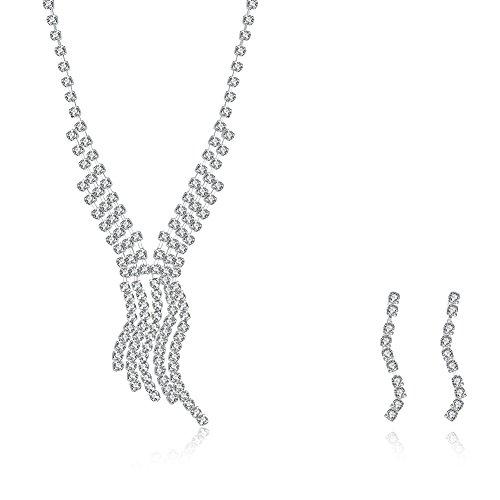 Luz Divina para fiesta de novia cristal collar pendientes set joyería