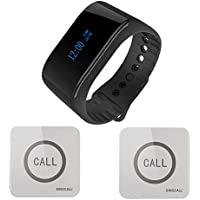 SINGCALL Waterproof Wireless Paging System Call Bell for Elderly,Pack of 1 Watch Receiver and 2 Pagers