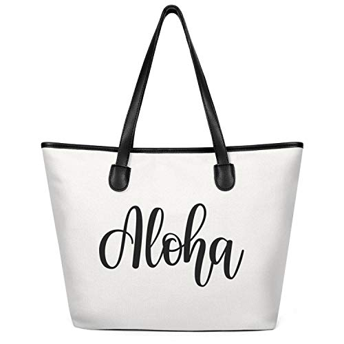 12.5X14 Inches Cute Zip Crossbody Canvas Large Tote Bag for Women Aloha Festival Hawaii Celebrate WordArt Reusable Grocery Beach Work Gym Book Lunch School Shopping Shoulder Handbag -