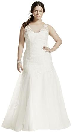 David\'s Bridal Illusion Neck Deep V Back Plus Size Wedding Dress ...