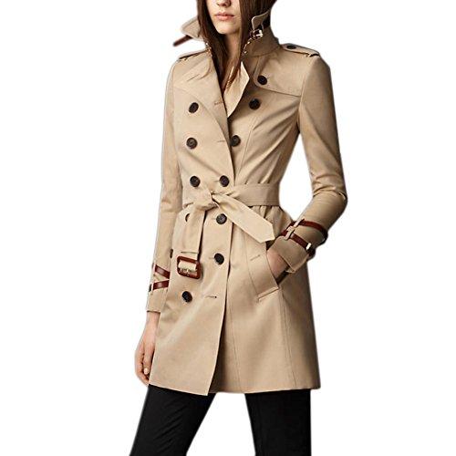 Saprex Women Windbreak Waterproof Winter Trench Coats #Khaki Size XL