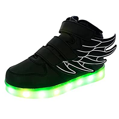 Fashion Wing LED Lights Up Shoes Remote Control Flashing Sneakers For Kids Girls Boys Black.26