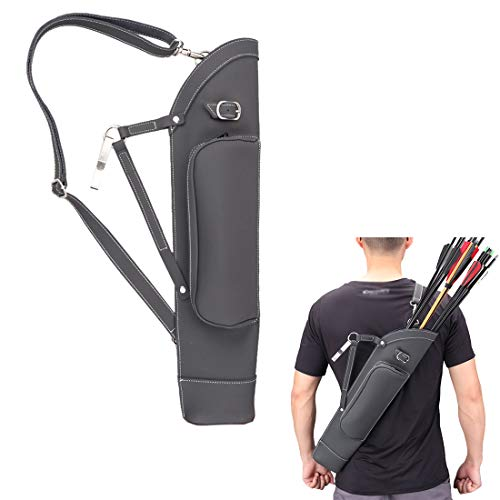 KRATARC Archery Dual Use Leather Back Arrow Quiver Hip Quiver Waist Hang Side with Adjustable Strap Belt Clip