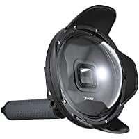 Andoer SHOOT 6 Sport Camera Diving Fisheye Dome Port Waterproof Housing for GoPro Hero 5 Action Cameras Underwater Photography with Lens Hood Floaty Grip