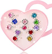 Hifot 12 pcs Girls Crystal Adjustable Rings, Princess Jewelry Finger Rings with Heart Shape Box, Girl Pretend