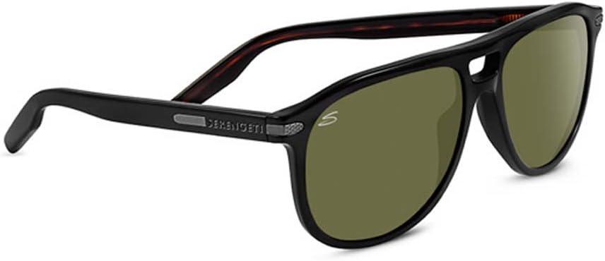 Serengeti Giacomo Polarized Sunglasses, Shiny Black/Dark Tortoise
