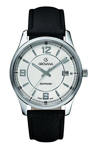 Grovana Men's 1215-1532 Traditional Analog Display Swiss Quartz Black Watch