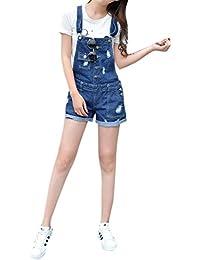 Women's Vintage Stretch Overalls Ripped Blue Cowboy Denim Shorts