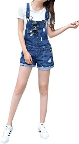 77bc20eb8ac Lingswallow Women's Vintage Stretch Overalls Ripped Blue Cowboy Denim Shorts