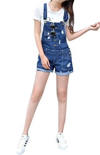 Women's Vintage Stretch Overalls Ripped Blue Cowboy Denim Shorts
