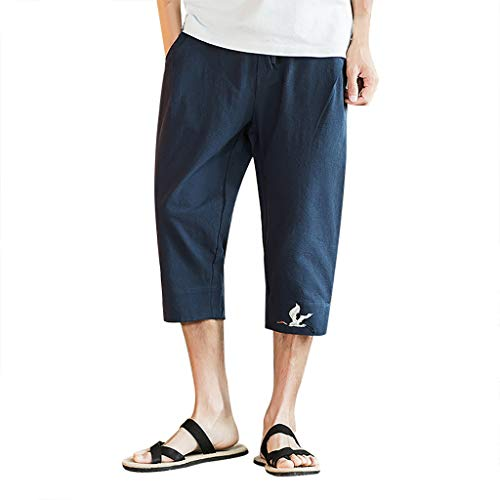TANGSen Men's Plus Size Casual Pants Solid Summer Printing Pocket Pants Lace Up Pants Elastic Waist Vintage Trousers Navy