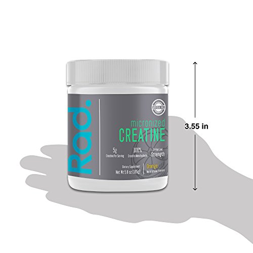 Rad. Pure Creatine Monohydrate Powder - Micronized Supplement for Strength, Lean Muscle & Energy | All Natural & Free of Artificial Sweeteners, Colors & Flavors | ORANGE
