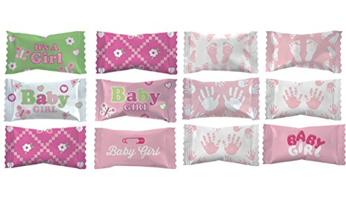 Party Sweets Baby Shower Party Mints by Hospitality Mints, Appx 150 mints, 7-Ounce 3 Bag each has Appx 50 Mints (Girl) ()