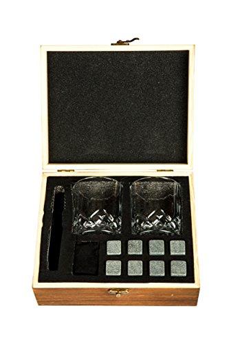 Golden Moose Whiskey Stones Gift Set – 2 Whiskey Glasses (220ml), 8 Exclusive Whiskey Rocks & Velvet Bag + Tongs in a Elegant Wooden Gift Box by Golden Moose (Image #5)