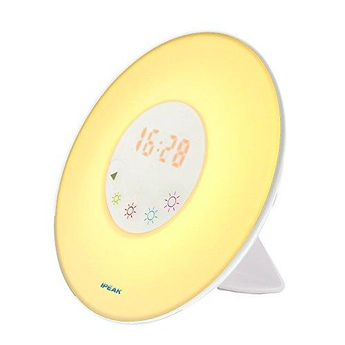 Alarm Clock Radio, IPEAK Colored Sunrise Wake Up Light Alarm Clock, Atmosphere Lamp, Bedside Lamp, Nature Night Light With Nature Sounds FM Radio - Touch Control