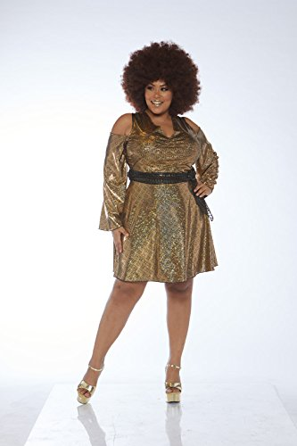 Leg Avenue Womens Plus 70s Disco Costume, Gold 1X-2X ()