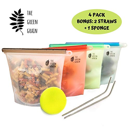 Reusable Silicone Food Storage Bags 4-Pack (1000ml) w/BONUS Eco Sponge & 2 Stainless Steel Straws, BPA Free,100% Food Grade Silicone, Freezer Safe Sandwich Bag for Lunch & Snacks by The ()