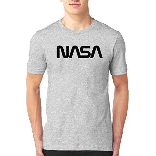 PMHS8 NASA Worm Logo Men's Fashion Print T-Shirt Short Sleeve Blouse Tank Tops Grey XL