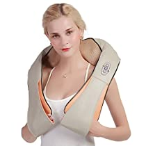 Shiatsu Neck and Back Massager with Heat, Portable Electric Massager for Neck, Back, Shoulders and Legs; Full Body Deep Kneading Massager at Home, Car, Office - Ophanie
