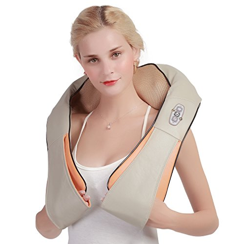 Shiatsu Neck & Back Massage Pillow with Heat, 3D Deep-Kneading Massage Therapy for Neck, Back, Shoulders & Legs - Full Body Relaxation, Best Electric Massager Gifts for Working Mom & Dad- Ophanie