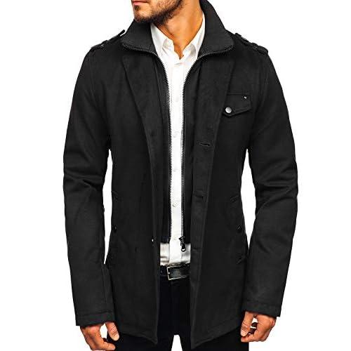 Abrigo de invierno acolchado para los hombres Una hilera de botones, con cierre de botones, el cuello inglés 100% De Poliéster