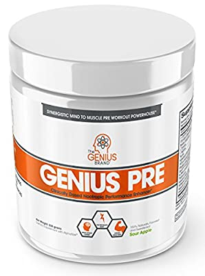 Genius Pre Workout Powder – All Natural Nootropic Preworkout & Caffeine Free Nitric Oxide Booster w/Beta Alanine & Alpha GPC | Boost Focus, Energy & NO | Muscle Builder Supplement –Green Apple – 20SV