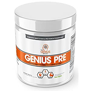 Genius-Pre-Workout-Powder–All-Natural-Nootropic-Preworkout-Caffeine-Free-Nitric-Oxide-Booster-wBeta-Alanine-Alpha-GPC-Boost-Focus-Energy-NO-Muscle-Builder-Supplement-Green-Apple–20SV